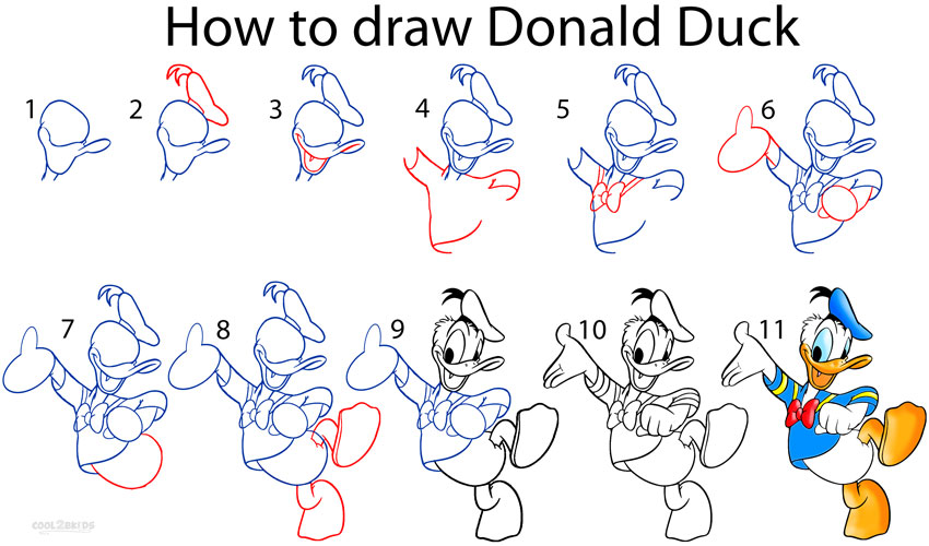 Angry Donald Duck Drawings How to Draw Donald Duck Step