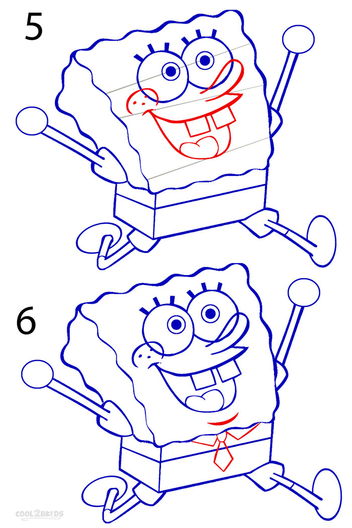 How To Draw Spongebob (Step By Step Pictures) | Cool2bKids