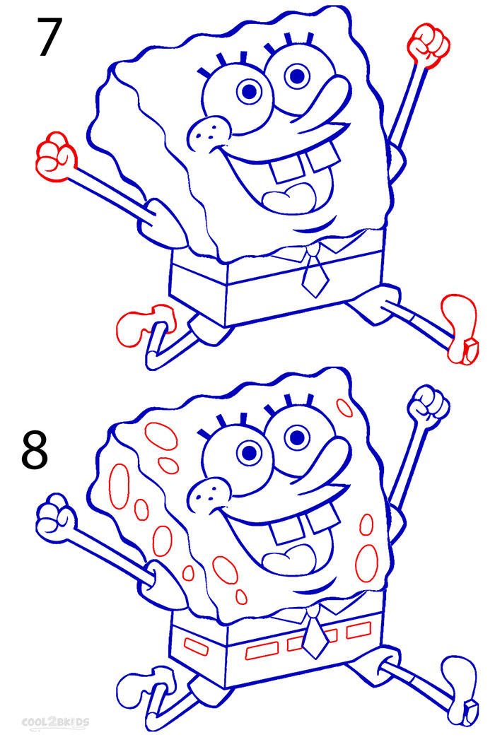 Step By Step Diagram Template: How To Draw Spongebob (Step By Step Pictures)
