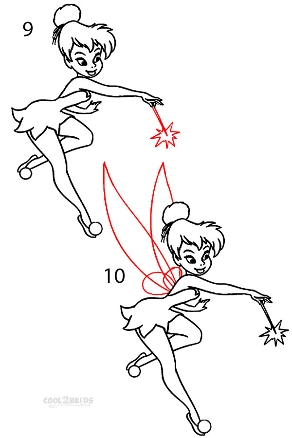 how to draw tinkerbell step 5