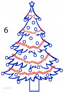 How to Draw a Christmas Tree Step 6