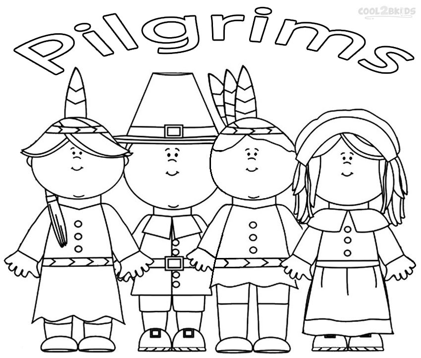 Pilgrims and indians coloring