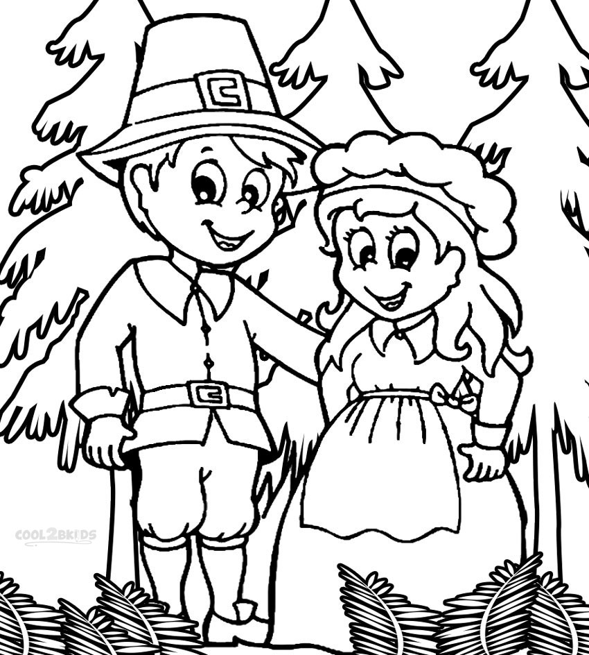 Printable Pilgrims Coloring Pages For Kids