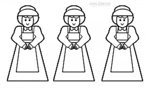 Pilgrim Girl Coloring Page
