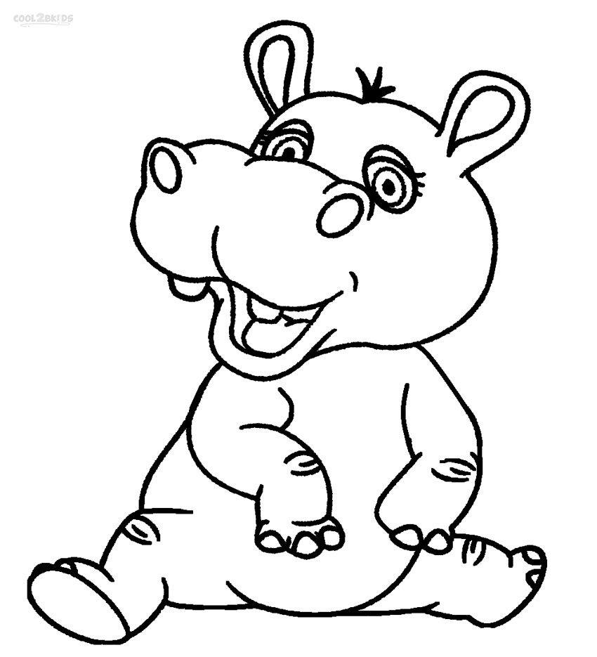Free Coloring Pages Of Drawings Of Hippo Hippo Coloring Page
