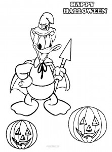 Donald Duck Halloween Coloring Pages