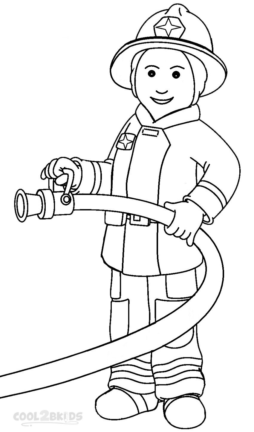 coloring book pages fireman hat - photo#29
