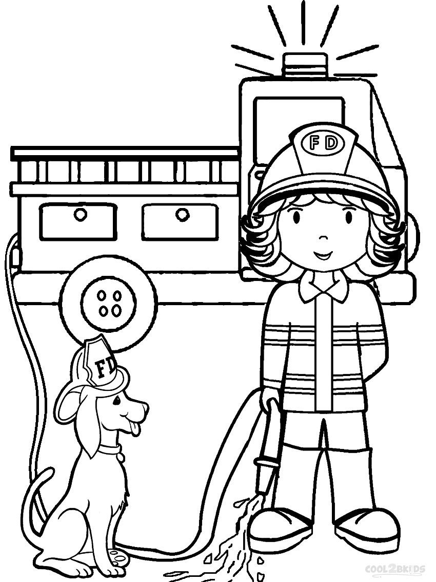 free printable fireman coloring pages cool2bkids Firefighter Coloring Pages for Preschool  Coloring Firefighter