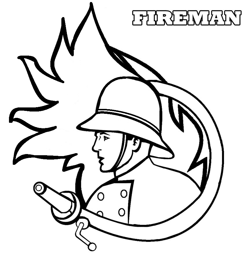 coloring book pages fireman hat - photo#24