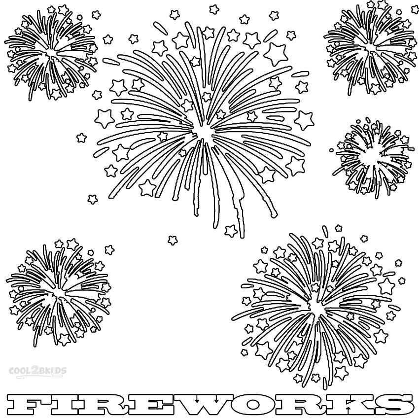 Coloring Page Of The 4th Of July Fireworks Vinilos decorativos de