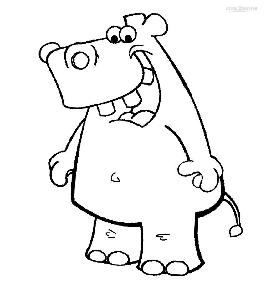 hippo cartoon coloring pages - Hippo Coloring Pages