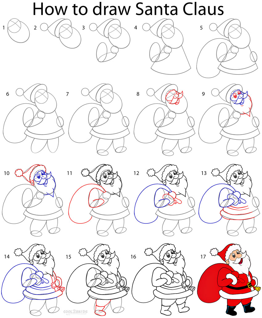 How to Draw Santa Clause (Step by Step Pictures) | Cool2bKids