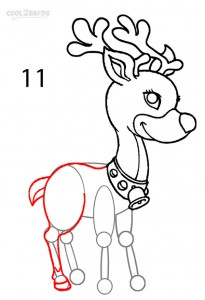 How to Draw a Reindeer Step 11