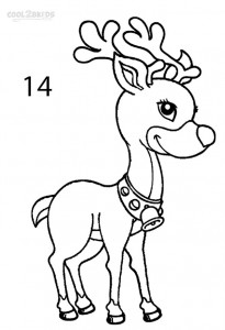 How to Draw a Reindeer Step 14