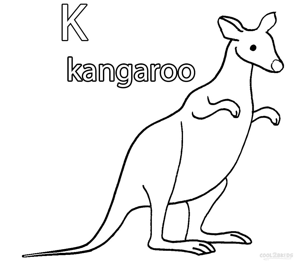 k for kangaroo coloring pages - photo#21