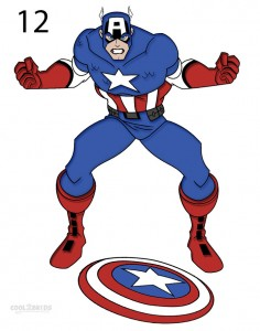 How to Draw Captain America Step 12