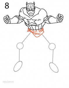 How to Draw Captain America Step 8