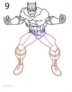 How to Draw Captain America Step 9
