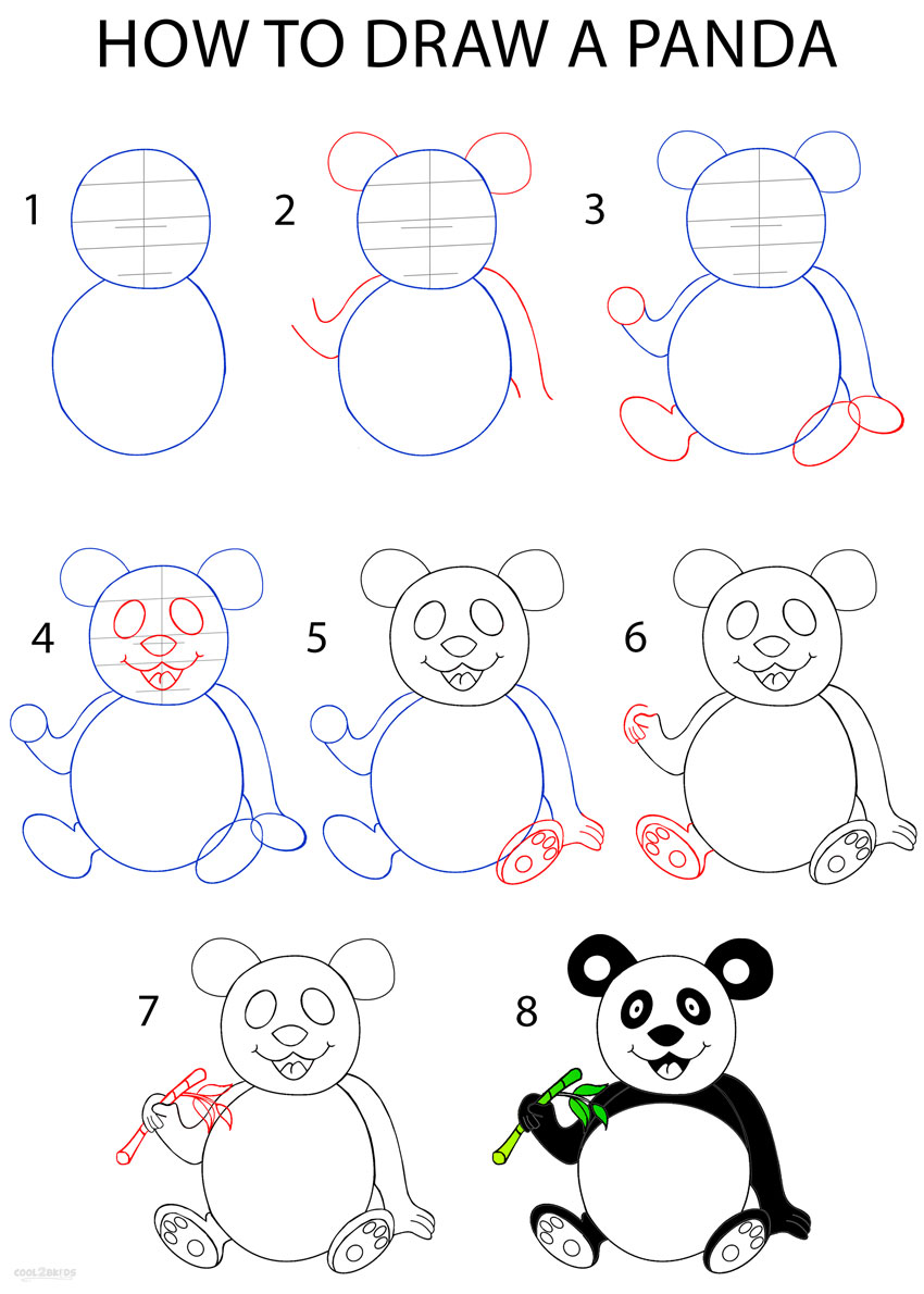 Step By Step Decorating Living Room: How To Draw A Panda (Step By Step Pictures)