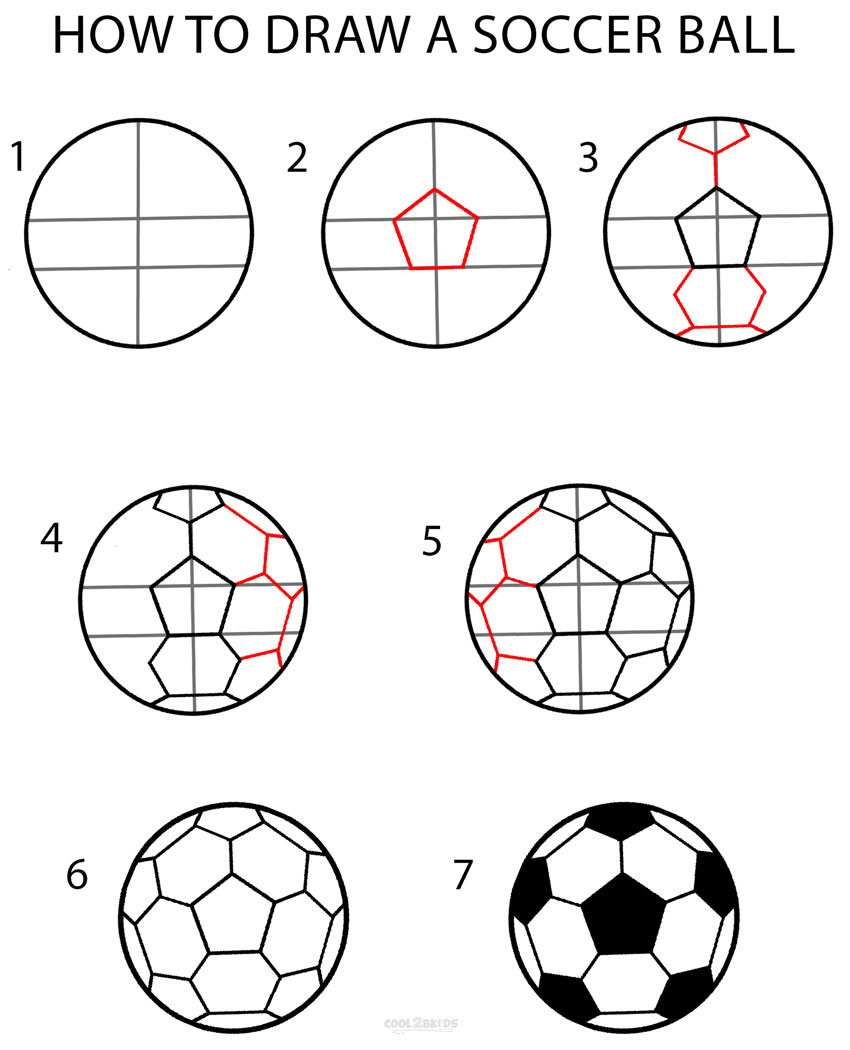 How To Draw A Soccer Ball Step By