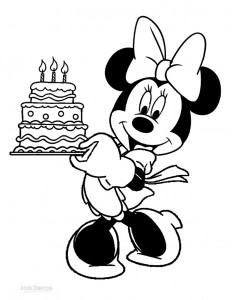 Minnie Mouse Birthday Coloring Pages