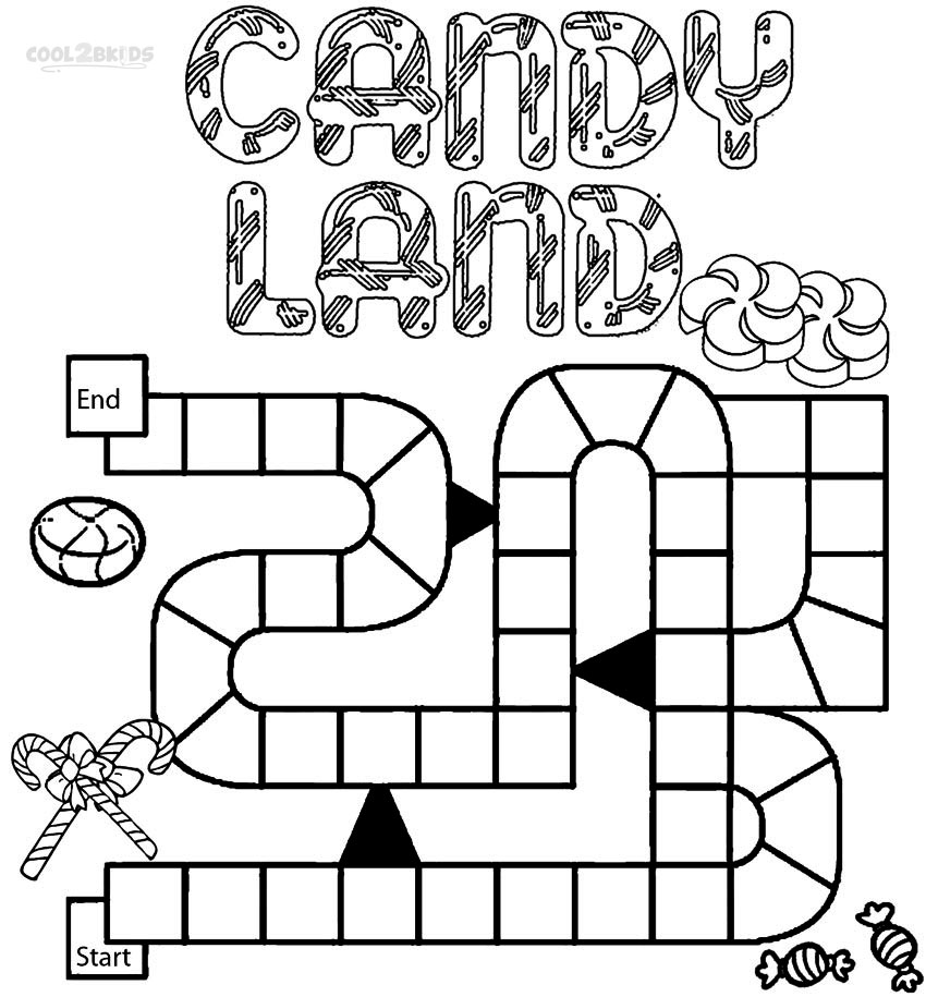Candyland Board Game Coloring Sheets Pages