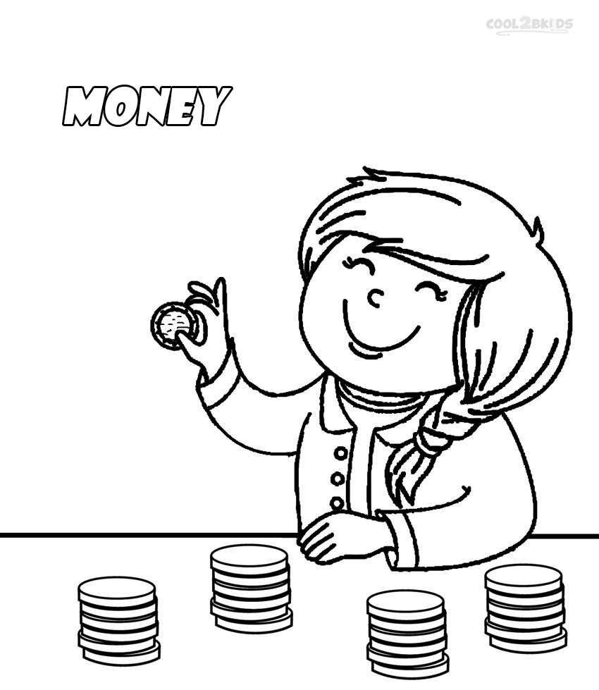 Counting coloring pages for toddlers - Coloring Pages Of Money