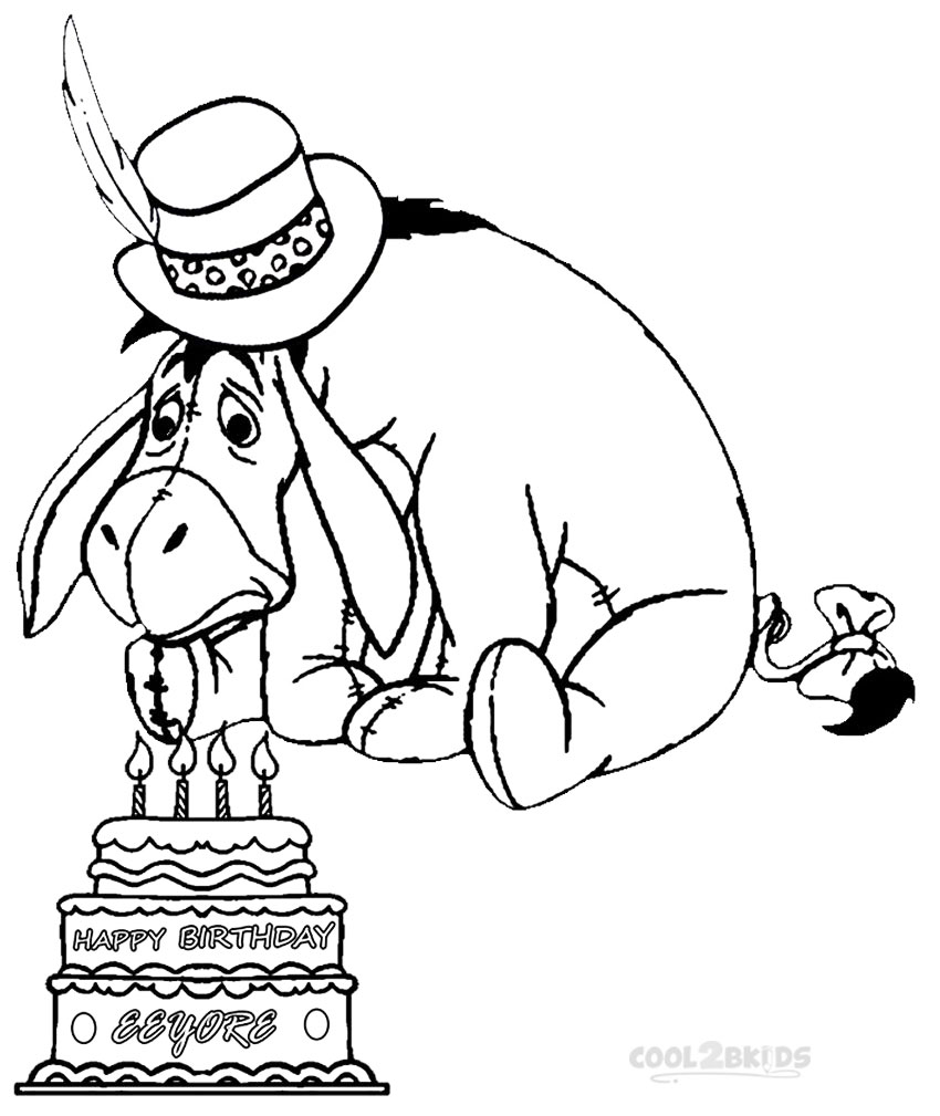 eeyore birthday coloring pages - Pooh Bear Coloring Pages Birthday