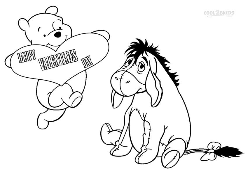 Eeyore valentine coloring pages