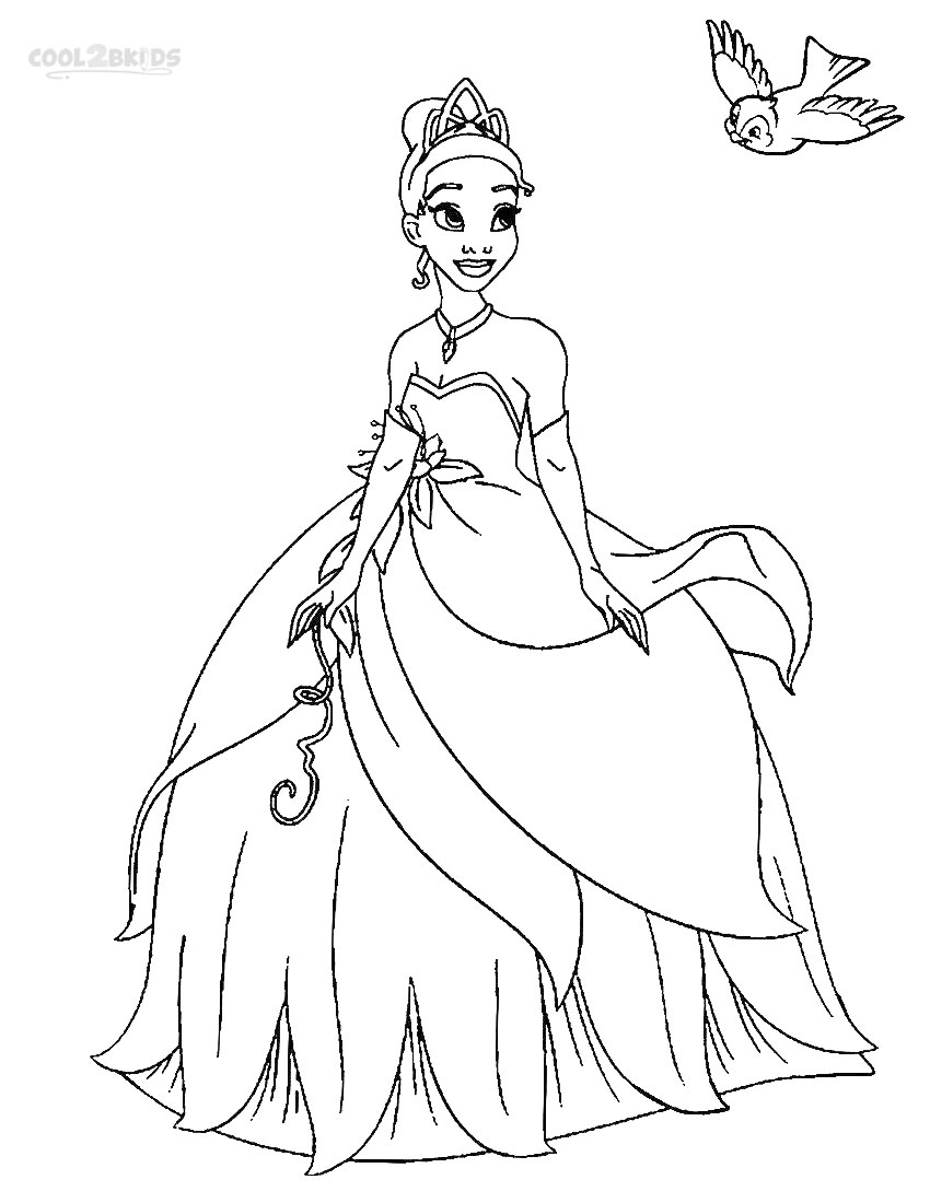 Printable Princess Tiana Coloring Pages For Kids Cool2bkids Princess Dress Coloring Pages Free Coloring Sheets