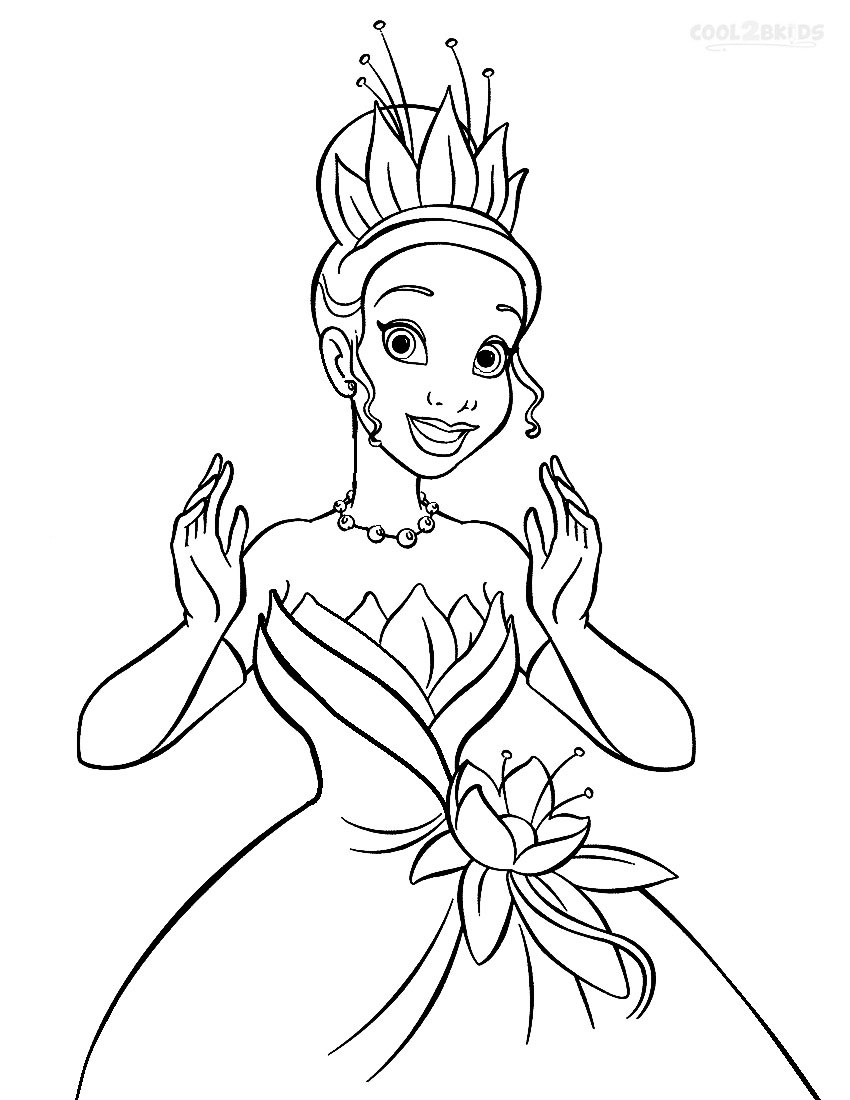 Printable princess tiana coloring pages for kids cool2bkids for Princess printable color pages