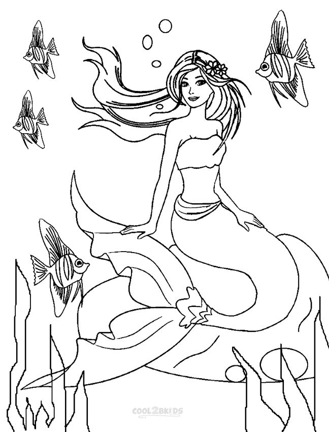 Printable barbie princess coloring pages for kids cool2bkids for Coloring page mermaid