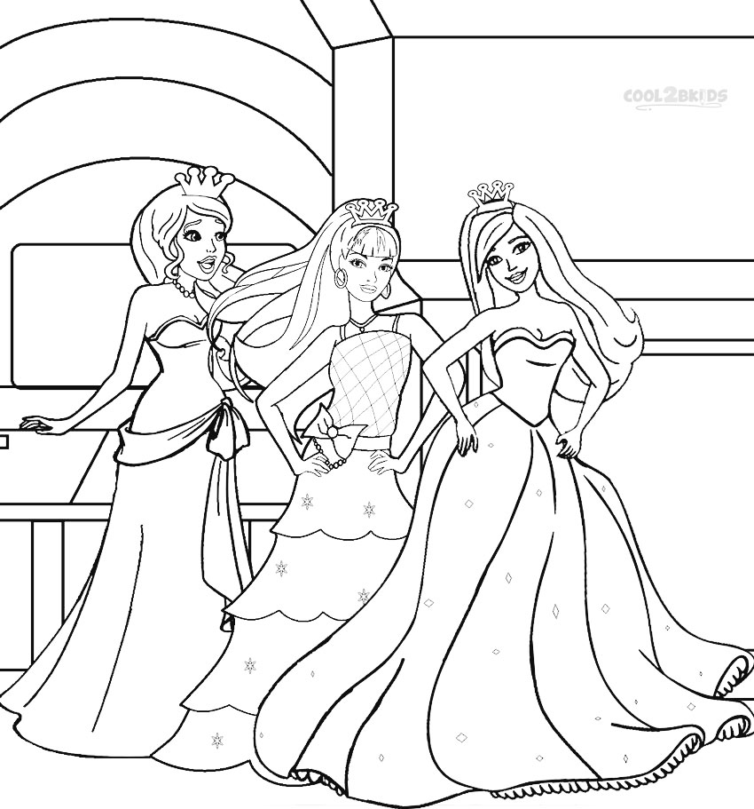 Printable Barbie Princess Coloring Pages For Kids Cool2bkids And The 12 Princesses Coloring Pages Printable