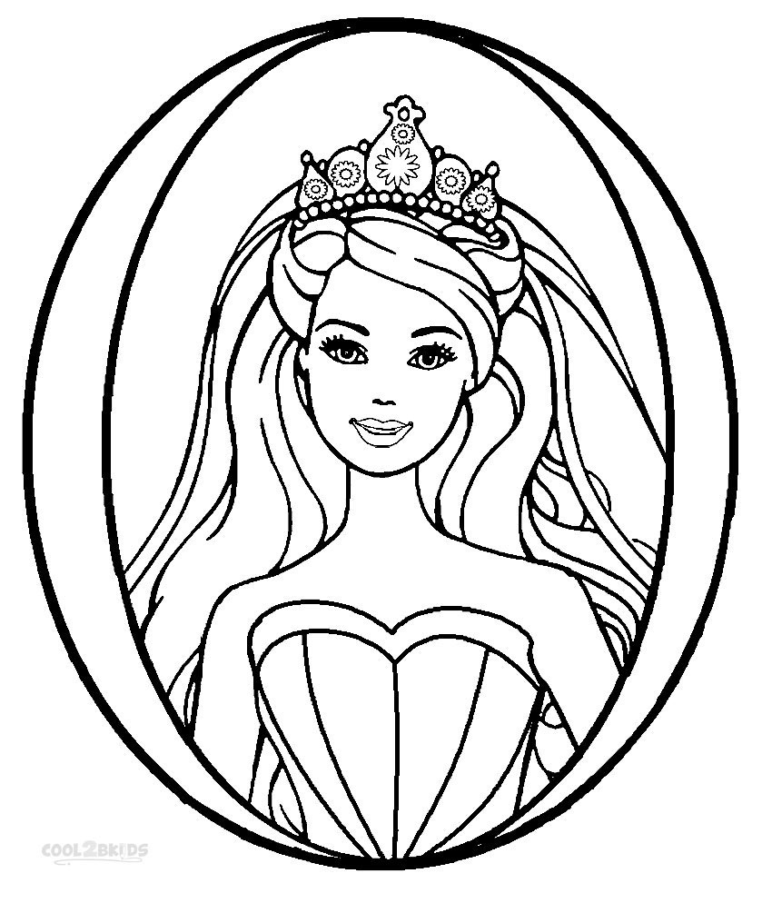 Barbie princess coloring pages free printable