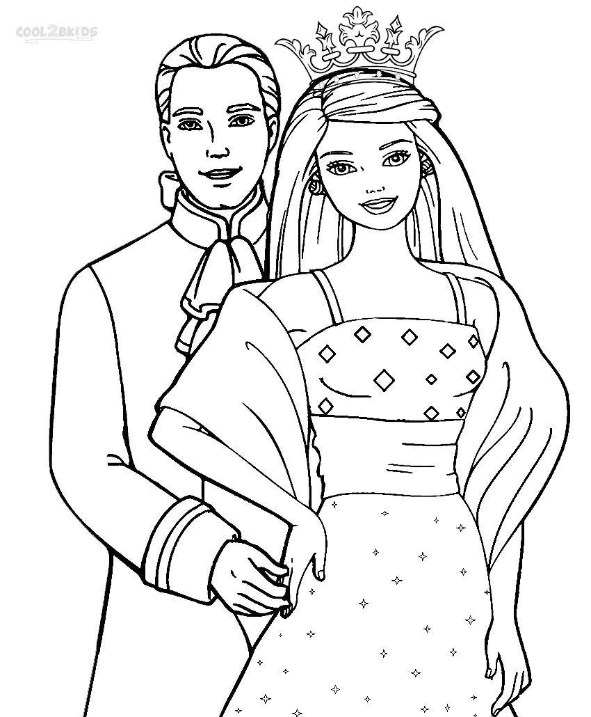 Printable Barbie Princess Coloring Pages For Kids