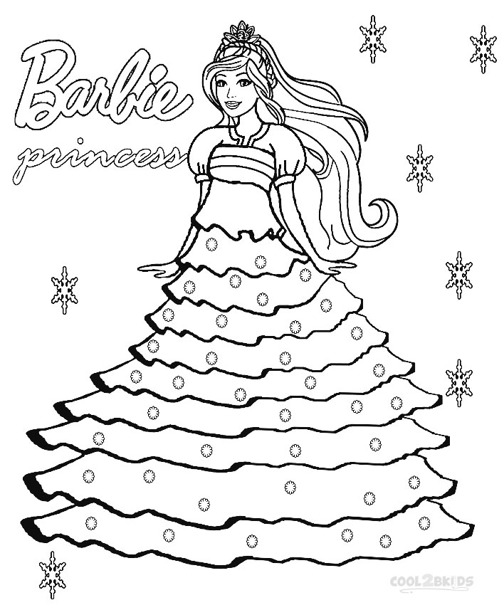 Coloring Pages Princess Pdf : Printable barbie princess coloring pages for kids cool bkids