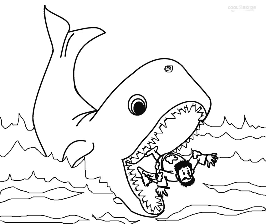 jonah and fish coloring pages - photo#26