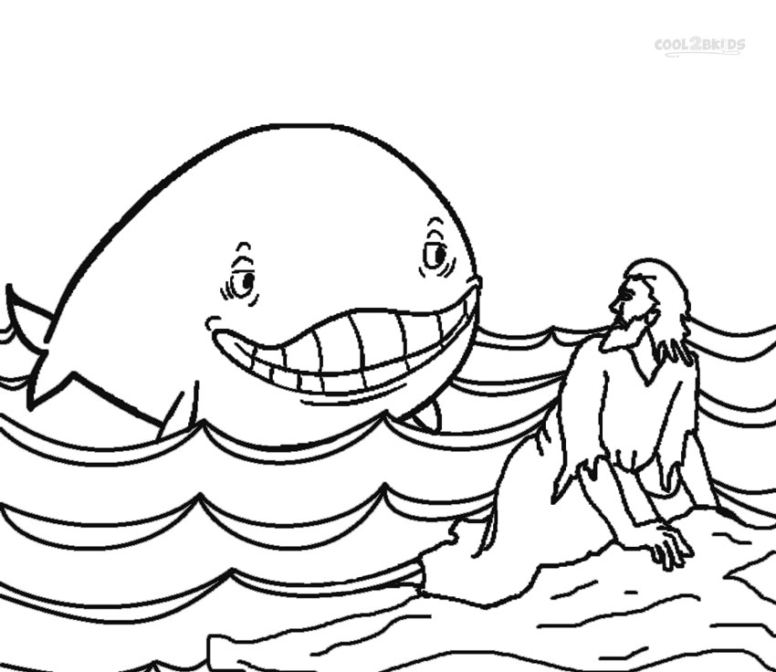 Jonah and the whale coloring pages for preschoolers