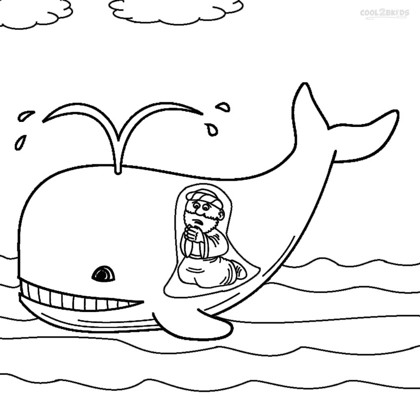 Jonah And The Whale Coloring Pages For Toddlers