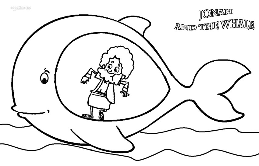 Printable jonah and the whale coloring pages for kids for Bible story coloring pages printable