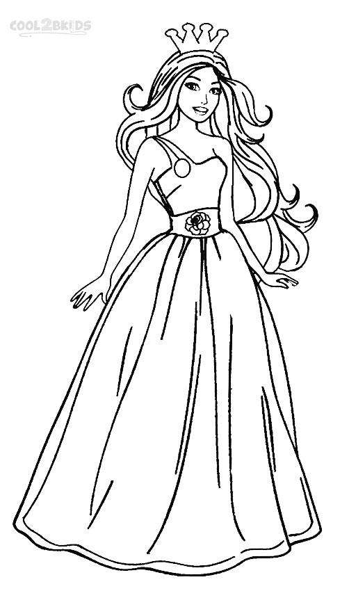 princess barbie coloring pages - Barbie Coloring Page