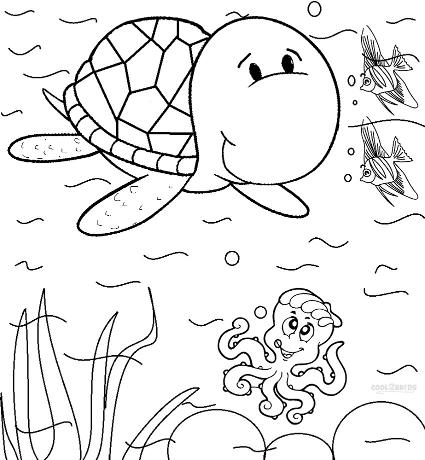 Sea Coloring Page Printable Turtle Pages For Cool2bkids
