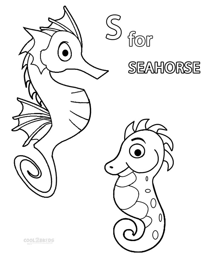printable seahorse coloring pages for kids