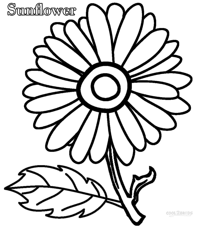 simple sunflower coloring pages - Simple Flower Coloring Pages