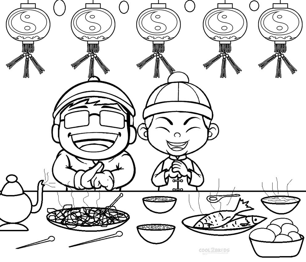 chinese new year coloring pages for kids
