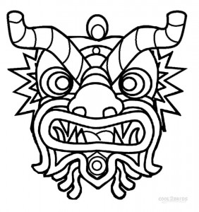 Chinese New Year Mask Coloring Pages
