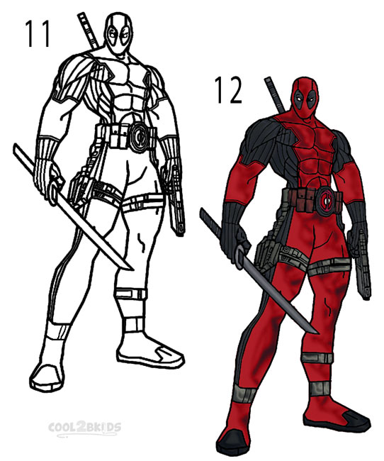 How to Draw Deadpool (Step by Step Pictures) | Cool2bKids
