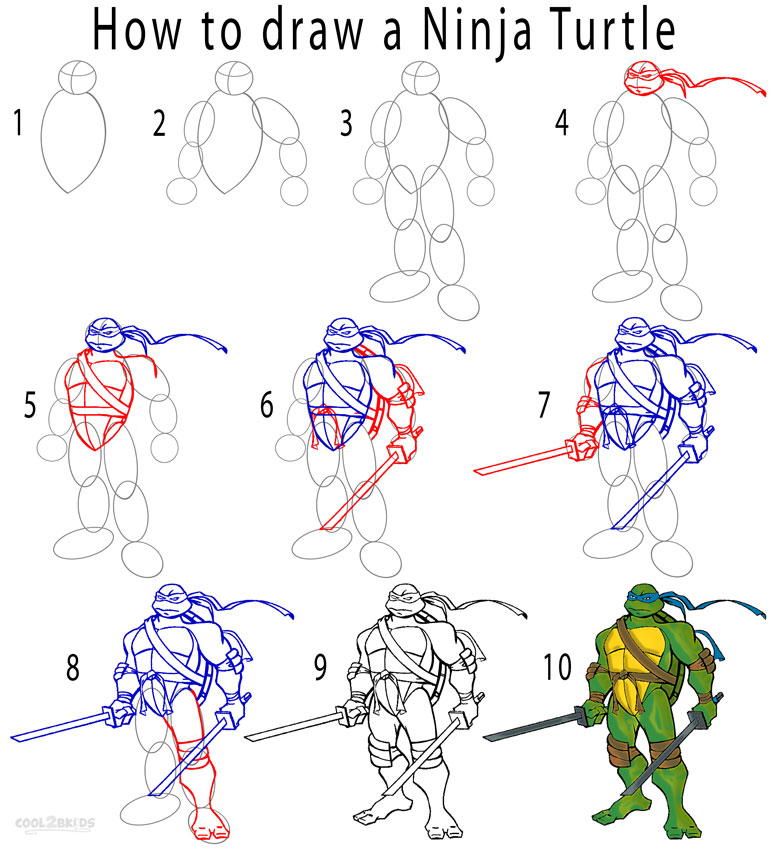 How to Draw a Ninja Turtle Step by Step Pictures Cool2bKids