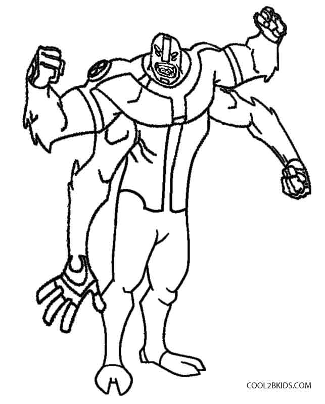 ben 10 four arms coloring pages - Ben Ten Coloring Pages