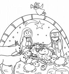 Printable Nativity Scene Coloring